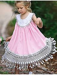 お買い得  -子供 女の子 甘い 日常 ソリッド タッセル ノースリーブ ミディ ポリエステル ドレス ピンク