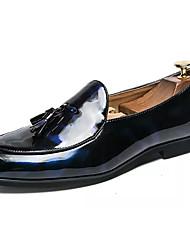 hesapli -Erkek Ayakkabı PU Bahar Günlük Mokasen & Bağcıksız Ayakkabılar Günlük için Siyah / Mavi