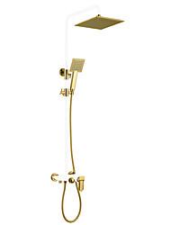 Недорогие -Смеситель для душа - Античный Окрашенные отделки На стену Керамический клапан Bath Shower Mixer Taps / Латунь