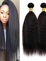 Недорогие -3 Связки Малазийские волосы Яки Вытянутые Натуральные волосы Человека ткет Волосы Уход за волосами Пучок волос 8-28 дюймовый Естественный цвет Ткет человеческих волос Мягкость Гладкие Лучшее качество