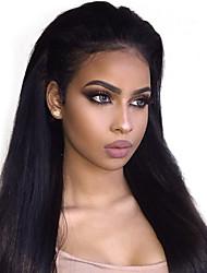Недорогие -Не подвергавшиеся окрашиванию человеческие волосы Remy 360 Лобовой Парик Бразильские волосы Естественный прямой Черный Парик 150% Плотность волос / с детскими волосами / с детскими волосами