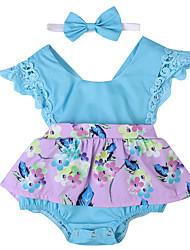 お買い得  -2本 赤ちゃん 女の子 活発的 / ストリートファッション パーティー / 祝日 フラワー / パッチワーク リボン / バックル / パッチワーク ノースリーブ コットン / スパンデックス ワンピース ライトグリーン