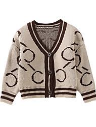 お買い得  -子供 女の子 ストリートファッション 幾何学模様 長袖 レギュラー ポリエステル ジャケット&コート ブラウン