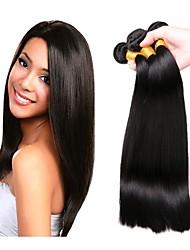 Недорогие -3 Связки Бразильские волосы Прямой Не подвергавшиеся окрашиванию человеческие волосы Remy Человека ткет Волосы Сувениры для чаепития Уход за волосами 8-28 inch Естественный цвет