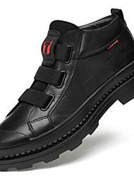 billiga -Herr Fashion Boots Nappaskinn Höst vinter Ledigt / Brittisk Stövlar Håller värmen Korta stövlar / ankelstövlar Svart