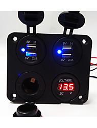 Недорогие -новый! 4-х позиционная панель нового дизайна с двойным USB-гнездом для зарядного устройства / вольтметром / розеткой / сигаретой