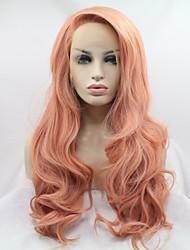levne -Syntetické čipky předních paruky Vlnité Kardashian Styl Vrstvený střih Se síťovanou přední částí Paruka Růžová Růžová Umělé vlasy 24 inch Dámské Dámské Růžová Paruka Dlouhý Sylvia 130% Lidské vlasy