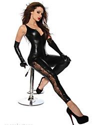 Недорогие -Инвентарь Костюмы кошки Кожаный костюм Косплей Девушка мотоцикла Взрослые Старшая школа Искусственная кожа Косплэй костюмы Жен. Черный Однотонный Маскарад