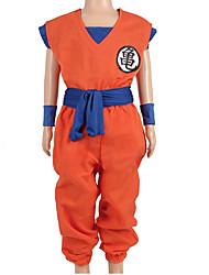 Недорогие -Вдохновлен Жемчуг дракона Son Goku Аниме Косплэй костюмы Японский Косплей Костюмы Буквы Неприменимо / Кофты / Брюки Назначение Мальчики / Девочки