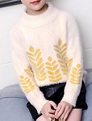 お買い得  -子供 女の子 ベーシック / ストリートファッション 日常 フラワー プリント 長袖 レーヨン セーター&カーデガン ベージュ