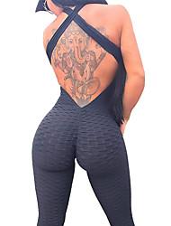 Недорогие -Жен. С высокой талией Тренировочный комбинезон Подъемный крюк Сплошной цвет Черный Белый Небесно-голубой Пурпурный Желтый Спандекс Йога Фитнес Тренировка в тренажерном зале Леггинсы Боди Ромпер