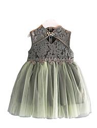 お買い得  -子供 女の子 ベーシック 日常 ソリッド ノースリーブ ドレス グレー