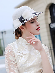 abordables -La merveilleuse Mme Maisel Chapeaux de feutre chapeau dames Rétro / Vintage Femme Blanc Nœud papillon Fabrication CAP Tulle Fibre Les costumes