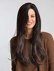 abordables -Pelucas sintéticas Heterosexual Kardashian Estilo Parte lateral Sin Tapa Peluca Negro Negro / Marrón Pelo sintético 26 pulgada Mujer Diseños de Moda / Nueva llegada / Pelo Ombre Negro Peluca Muy largo