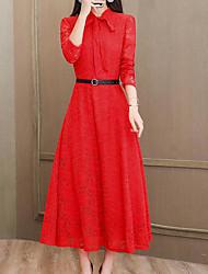 Недорогие -платье для женщин миди с круглым вырезом с круглым вырезом розовый красный чёрный м л xl xxl