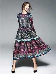 Χαμηλού Κόστους -Γυναικεία Εξόδου Κινεζικό στυλ Swing Φόρεμα - Μονόχρωμο Μακρύ / Μίντι