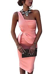 Недорогие -Жен. Элегантный стиль Тонкие Брюки - Однотонный Завышенная Розовый / Для вечеринок / На одно плечо / Сексуальные платья