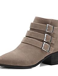 billige -Dame Ruskind Efterår vinter Vintage / Minimalisme Støvler Kraftige Hæle Lukket Tå Støvletter Spænde Sort / Grå / Mandel