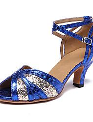 Недорогие -Жен. Обувь для латины Синтетика На каблуках Кубинский каблук Персонализируемая Танцевальная обувь Цвет радуги