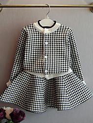 お買い得  -子供 女の子 ストリートファッション チェック 長袖 レギュラー ポリエステル アンサンブル ブラック