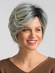 Недорогие -Парики из искусственных волос Естественный прямой Черный Стрижка боб / Стрижка под мальчика Черный / серый Искусственные волосы 10 дюймовый Жен. / Серый / Без шапочки-основы / Природные волосы