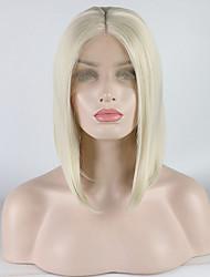 abordables -Perruque Lace Front Synthétique Bouclé Style Partie médiane Lace Frontale Perruque Blanc Blanc crème Cheveux Synthétiques 12-16 pouce Femme Ajustable / Dentelle / Résistant à la chaleur Blanc Perruque