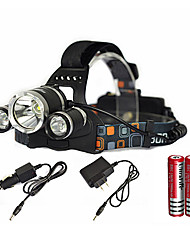 Недорогие -Налобные фонари LED излучатели 6000 lm 1 Режим освещения с батарейками и зарядным устройством Масштабируемые, Водонепроницаемый, Перезаряжаемый