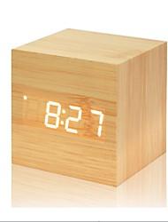 Недорогие -Многоцветный звуки управления деревянные часы новые современные деревянные цифровые светодиодные настольные будильник термометр таймер календарь настольный декор