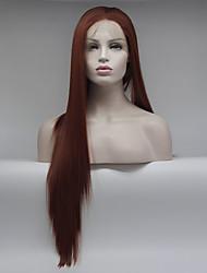 Недорогие -Синтетические кружевные передние парики Жен. Прямой Красный Средняя часть 180% Человека Плотность волос Искусственные волосы 18-26 дюймовый Регулируется / Кружева / Жаропрочная Красный Парик Длинные