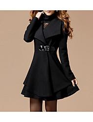 abordables -Femme Quotidien Hiver Normal Manteau, Couleur Pleine Col roulé Manches Longues Acrylique / Polyester Noir / Rouge M / L / XL