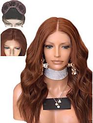 voordelige -Pruik Lace Front Synthetisch Haar Golvend / Watergolf Stijl Gelaagd kapsel Kanten Voorkant Pruik Bruin Kastanjebruin Synthetisch haar 16 inch(es) Dames Zacht / Hittebestendig / Natuurlijke haarlijn