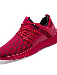 hesapli -Erkek Ayakkabı PU / Elastik Kumaş Bahar Sportif Atletik Ayakkabılar Koşu Atletik için Beyaz / Siyah / Kırmzı / Zıt Renkli