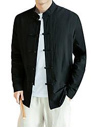 Недорогие -Муж. Большие размеры - Рубашка Хлопок, Воротник-стойка Тонкие Шинуазери (китайский стиль) Однотонный / Длинный рукав
