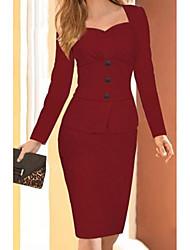Недорогие -Жен. Элегантный стиль Оболочка Платье - Однотонный До колена