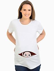 baratos -t-shirt das mulheres - desenhos animados em volta do pescoço