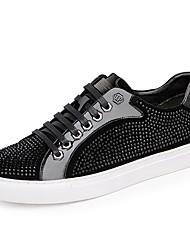 baratos -Homens Sapatos Confortáveis Couro Ecológico Primavera & Outono Tênis Preto