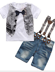 お買い得  -子供 男の子 活発的 / ストリートファッション 日常 / お出かけ プリント リボン 半袖 レギュラー レーヨン アンサンブル ホワイト