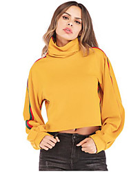 baratos -camisola de mangas compridas para senhora - cor sólida em volta do pescoço amarelo s