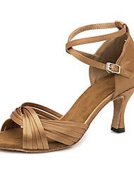 baratos -Mulheres Sapatos de Dança Latina Cetim Sandália / Têni Presilha Salto Alto Magro Sapatos de Dança Marron
