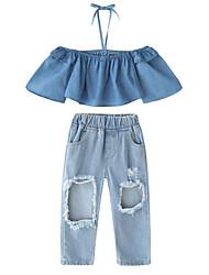 お買い得  -子供 女の子 活発的 / ストリートファッション 日常 / お出かけ ソリッド ラッフル / 引き裂かれました 長袖 ショート レーヨン アンサンブル ブルー