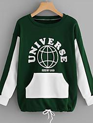 baratos -camisola de mangas compridas para senhora - cor sólida, gola redonda verde tamanho único