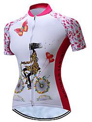 Недорогие -TELEYI Жен. С короткими рукавами Велокофты - Розовый Цветочные / ботанический Велоспорт Джерси Дышащий Быстровысыхающий Виды спорта Полиэстер Горные велосипеды Шоссейные велосипеды Одежда