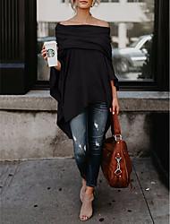 abordables -Tee-shirt Femme, Couleur Pleine Soirée Epaules Dénudées