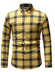 Недорогие -Муж. С принтом Рубашка Классический Полоски / Геометрический принт / Контрастных цветов