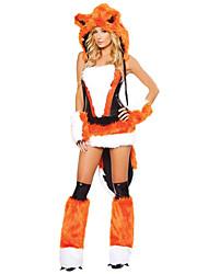 baratos -Ternos de Papai Noel Fox Girl Mulheres lobo Ocasiões Especiais Mulheres Adulto Dia Das Bruxas Natal Natal Dia Das Bruxas Carnaval Festival / Celebração Roupa Black / Orange Animal