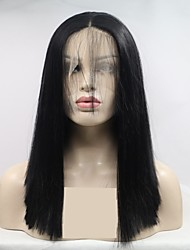 お買い得  -合成レースフロントウィッグ 女性用 ストレート ブラック レイヤード・ヘアカット 130% 人間の毛髪密度 合成 16 インチ 女性 ブラック かつら ショート フロントレース ブラック Sylvia