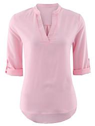 Недорогие -Жен. Рубашка Уличный стиль Однотонный