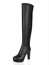Недорогие -Жен. Микроволокно / Эластичная ткань Зима Милая / Минимализм Ботинки На толстом каблуке Круглый носок Сапоги до середины икры Черный / Серый