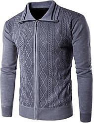 ราคาถูก -สำหรับผู้ชาย ทุกวัน สีพื้น แขนยาว ปกติ ผ้าคลุมหลัง สีน้ำเงินกรมท่า / สีเทา / สีเหลือง L / XL / XXL