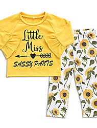 cheap -Baby Girls' Active Daily Floral Long Sleeve Regular Polyester Clothing Set Yellow